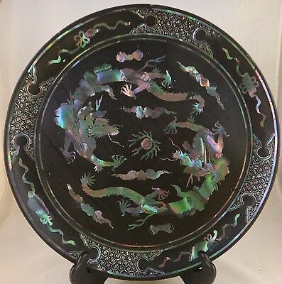 """Chinese Abalone Shell & Black Lacquer Footed Dish. Qing Dyn. 13 ¾""""x 1 ½"""" h."""