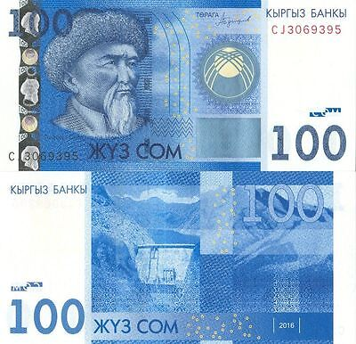 Kyrgyzstan 100 som 2016 / 2017 UNC P- new modification