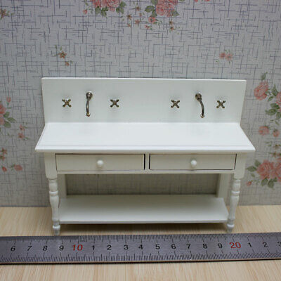 Long Wood Table w/Water-Tap Drawer Workbench Furniture Dollhouse Miniatures 1:12