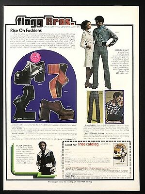 1973 Vintage Print Ad 1970s FLAGG BROS Suit Shoes Colorful Style Fashion Men's