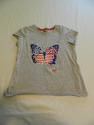 Girls 4th Of July Butterfly Short Sleeve Shirt Size 14-16 fits like a 12