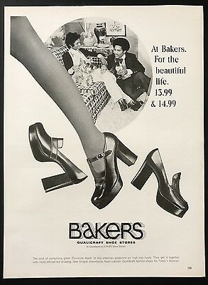 1973 Vintage Print Ad 70's BAKERS SHOES Foot Fashion Style Woman's Leg Walking