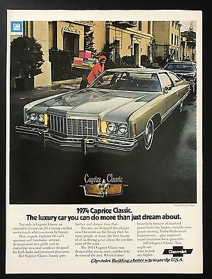 1973 Vintage Print Ad 1970s CHEVROLET CAPRICE CLASSIC Gift Shopping Automobile