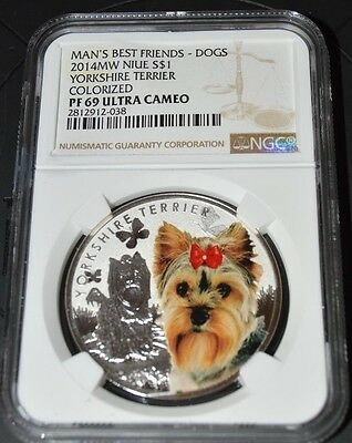 Niue 2014 1$ Mans Best Friends Dogs - Yorkshire Terrier .999 Silver  NGC PF69