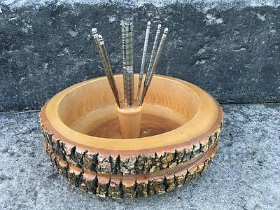 Wooden Turned Nut Bowl with 6 Picks and 1 Nut Cracker