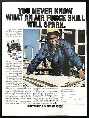 1973 Vintage Print Ad 1970s AIR FORCE Recruitment Construction Worker