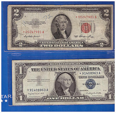 1-1953 Star 2 Dollar Red Seal And 1-1957 $1 Star Silver Certificate Lh988
