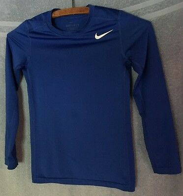 Nike Dri-Fit Blue & White Logo Fitted Long Sleeve Fitness T-Shirt~Boys Small S