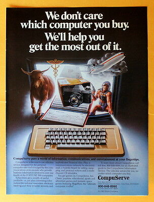 """Magazine Print Ad 1982  Compuserve """"We Don't Care Which Computer You Buy"""""""