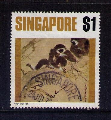 """Singapore, Sc # 156, $1.00. Value 1971 Paintings """"gibbons"""" Issue, Used"""