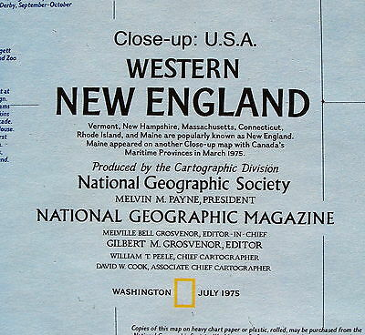 Western New England Close-Up USA National Geographic Map / Poster July 1975