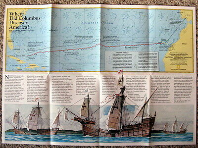 Where Did Columbus Discover America  National Geographic Map / Poster Nov 1986