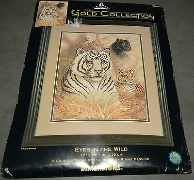 COUNTED CROSS STITCH KIT 'TIGERS EYES IN THE WILD' 30x38cm