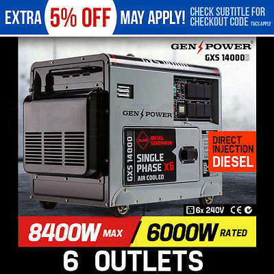 NEW 8.4kVA Max 6kVA Rated Diesel 13HP Generator Single Commercial Back