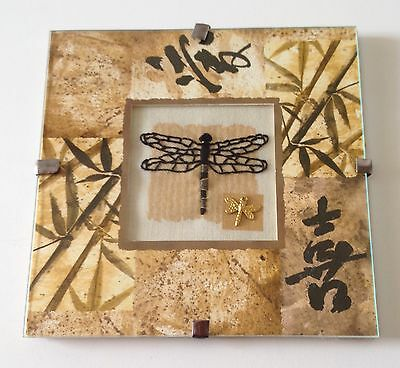 Completed Finished Dragonfly Embroidery Charm Zen Framed Needlework Stitchery