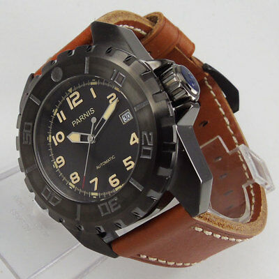 45mm Parnis black dial PVD case mineral crystal automatic Mechanical Men's watch