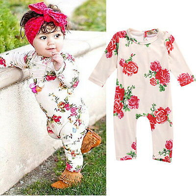 Newborn Baby Girls Flower Long Sleeve Bodysuit Romper Jumpsuit Outfits Clothes