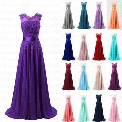 Long Lace Bridesmaid Dress Evening Formal Party Ball Gown Prom Stock Size 6~18