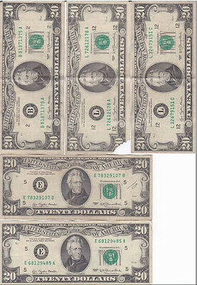 1977 OLD STYLE 20 DOLLAR Bill Federal Reserve Note Very Fine condition (5)