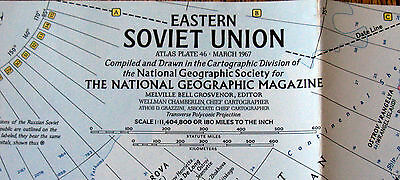 Eastern Soviet Union -  National Geographic Map / Poster March 1967