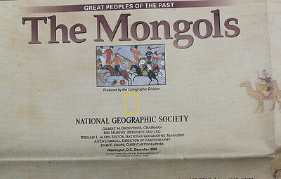 The Mongols / Mongol Khans   National Geographic Map / Poster Dec 1996