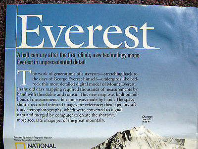 Everest 50 Land of the Sherpas National Geographic Map / Poster May 2003
