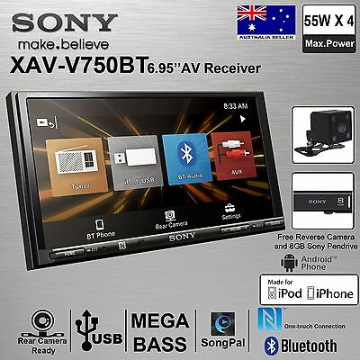 "SONY XAV-V750BT 2Din 6.95"" FREE Reverse Camera & Pendrive 8GB Car Stereo Player"