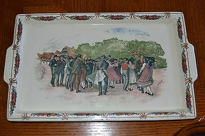 French Faience Obernai Village Dance Large Platter Hand Painted Signed Pottery