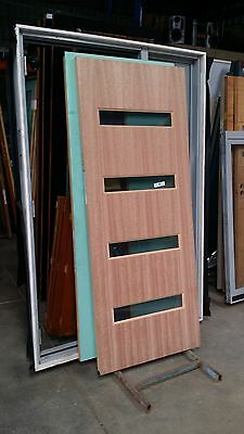 Timber Door - EB10 - 2040h x 820w Solid Core w/ 4 x Light Tint Glass