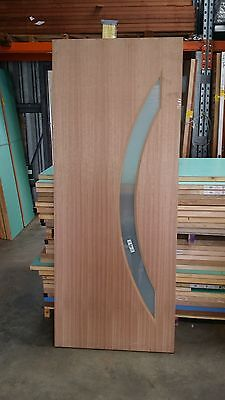 Timber Door - EB14 - 2040h x 820w Solid Core w/ 1 x Curved Obscure Glass