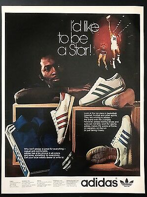 1973 Vintage Print Ad 1970s ADIDAS Shoes Basketball Star Athletic Footwear