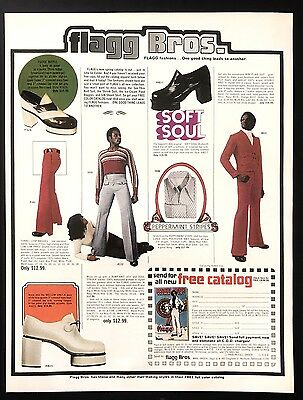 1973 Vintage Print Ad FLAGG BROS Men's Fashion Style Soft Soul High Heels