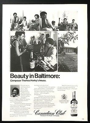 1973 Vintage Print Ad CANADIAN CLUB Thomas Hurley Baltimore