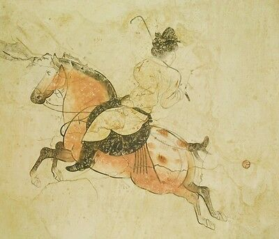 Painting Scroll Chinese Picture Ink Art China Mural Antique Polo Horse b409