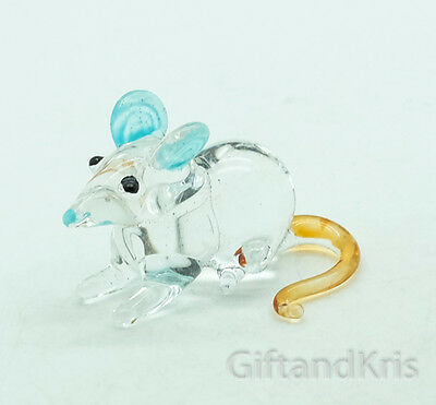 Figurine Animal Hand Blown Glass Miniature Rat Mouse Mice - GPRA011