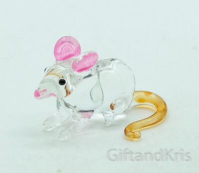 Figurine Animal Hand Blown Glass Miniature Rat Mouse Mice - GPRA012