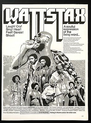 1973 Vintage Print Ad 1970s WATTSTAX Isaac Hayes Movie Release Advert