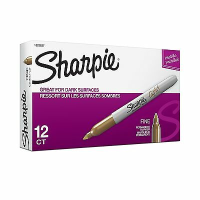 Sharpie Metallic Permanent Markers Fine Point Gold 12-Count Metallic Gold New