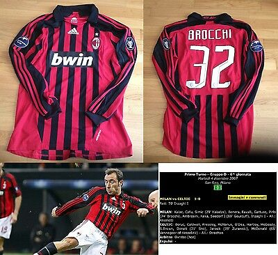 Maglia Milan  Indossata Vs Celtic Champions C.brocchi Match Worn Shirt Camiseta
