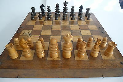 Antique English St. George Pattern Chess Set + Victorian Chess Board