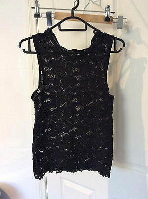 CAMISOLE BLACK LACE TOP NEW SIZE 14 free postage
