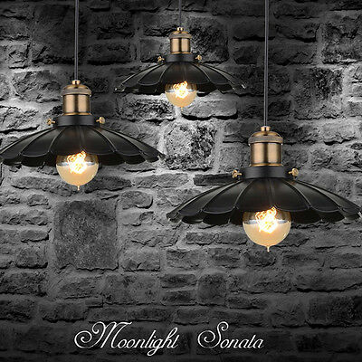 Vintage Black Round Hanging Pendant Fixtures Ceiling Lamp Down Lighting Decor