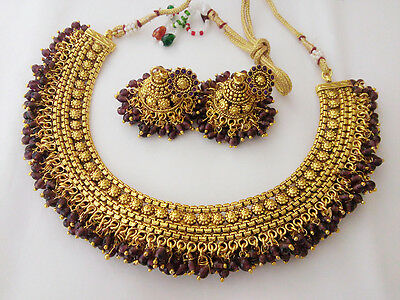 South Indian Fashion Jewelry Chandani Necklace Set Bollywood Ethnic Gold Plated