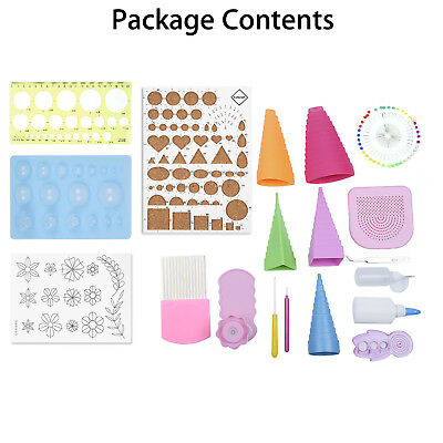 19in1 Paper Quilling Tools KitFull Set Quilling Board Mould Grid Craft DIY