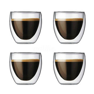 2/4/6 pcs X 80ML Double Wall Coffee Glass Mug Cups Insulate Office Tea Mug