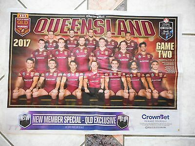 Qld State of Origin 2017 souvenir poster Game 2 NRL team maroons Queensland