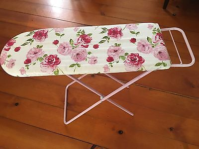 Vintage CHILD'S Toy IRONING BOARD - Pink - Floral Cover. Pick Up EAST BRISBANE
