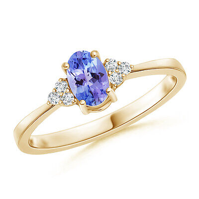 Solitaire Natural Oval Tanzanite With Diamond Promise Ring 14K Yellow Gold