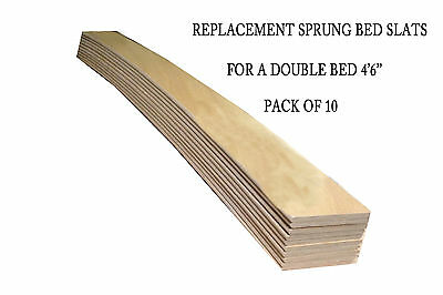 Replacement Beech Sprung Bed Slats For A Double Bed (4'6'') - Pack Of 10