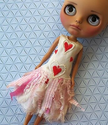 vintage style Petite Apple heart dress for Blythe doll